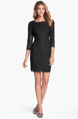 Long Sleeve Lace Sheath Dress by Adrianna Papell in She's Funny That Way