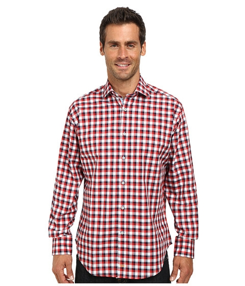 Woven Textured Check Shirt by Thomas Dean & Co. in Ballers
