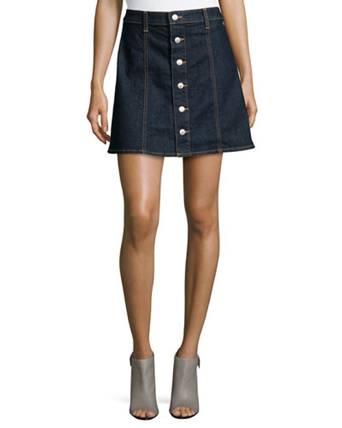 The Kety Button-Front Denim Skirt by Alexa Chung for AG in The Mindy Project - Season 4 Episode 4