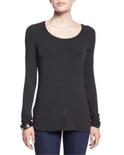 Long-Sleeve Jersey Cozy Tee by Eileen Fisher in Arrow