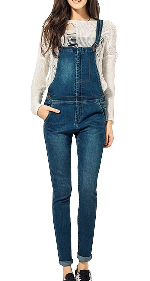 Retro Strap Slim Fit Denim Jeans Jumpsuit by D-CSN in The DUFF