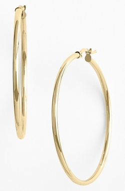 Gold Hoop Earrings by Bony Levy in Bridesmaids