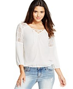 Lace-Trimmed Peasant Blouse by American Rag in Pitch Perfect 2