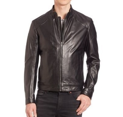 Zip-Front Leather Jacket by Hugo Boss in Empire