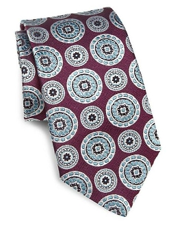 Medallion Print Silk Tie by Ike Behar in Self/Less