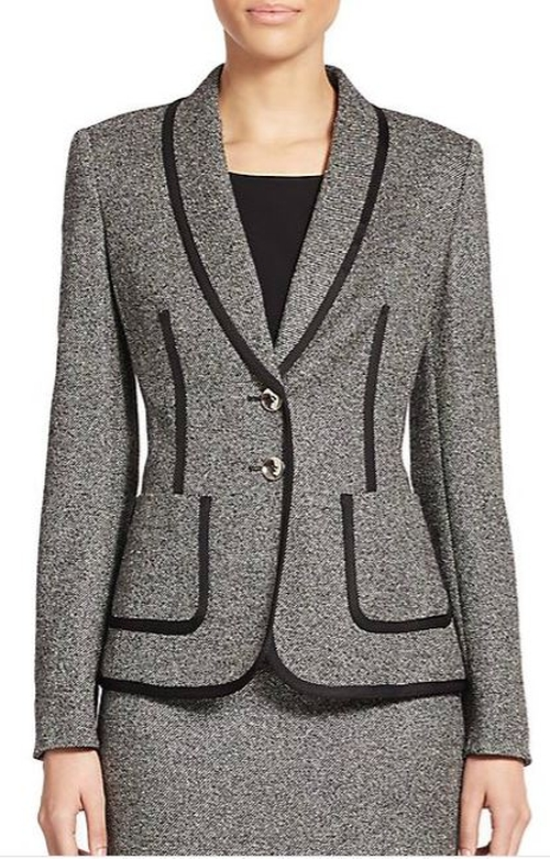 Piped Tweed Jacket by Escada in The Good Wife - Season 7 Episode 5