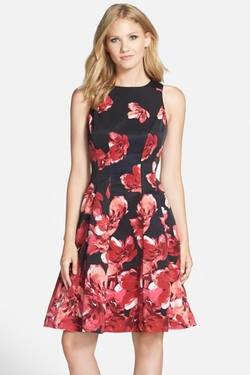 Floral Print Faille Fit & Flare Dress by Maggy London in The Big Bang Theory