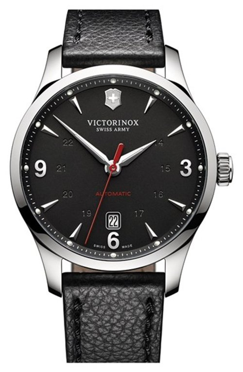 'Alliance' Round Leather Strap Watch by Victorinox Swiss Army in Couple's Retreat