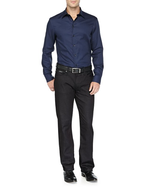 Textured Solid Dress Shirt by Armani Collezioni in John Wick
