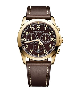 Infantry Gold Tone And Leather Chronograph Watch by Victorinox Swiss Army in Everest