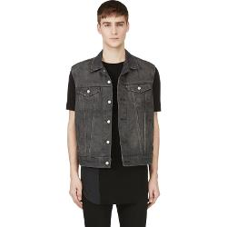 Washed Black Denim Cut-Off New Trucker Vest by Levi's in Let's Be Cops