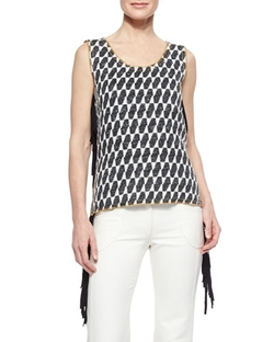 Ikat Checked Fringe Top by Derek Lam in Empire