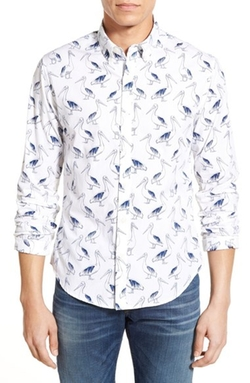 'Pelican Party' Slim Fit Poplin Shirt by Bonobos in New Girl