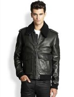 Leather & Shearling Pilot Jacket by BLK DNM in The Boy Next Door