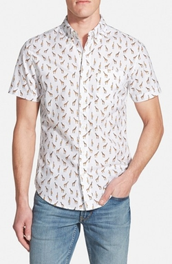 'Giraffe Tower Print' Slim Fit Short Sleeve Sport Shirt by Bonobos in Paper Towns