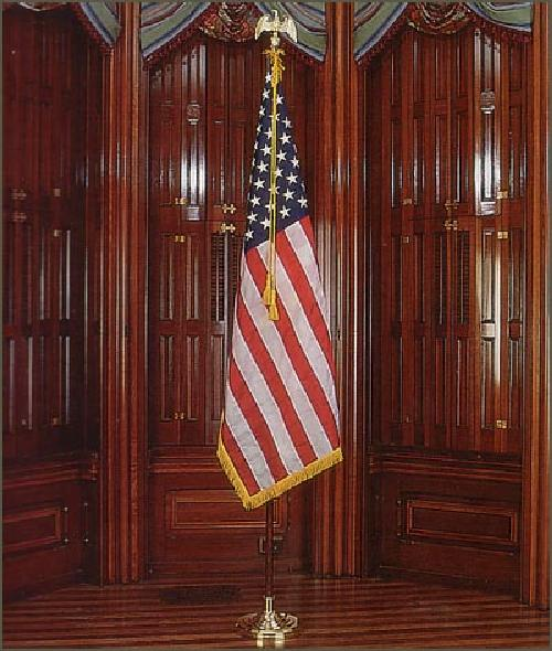 Indoor American Nylon Flag with Pole Hem and Fringe by Valley Forge in Sabotage