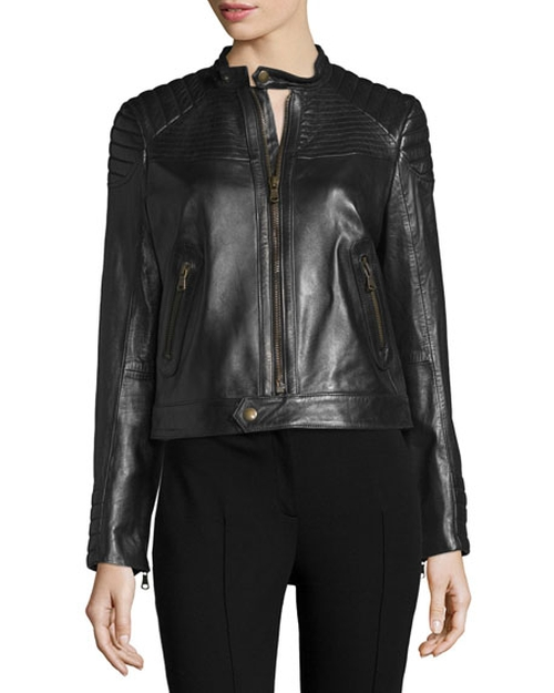 Zip-Front Leather Moto Jacket by Red Valentino in Pretty Little Liars - Season 7 Episode 10