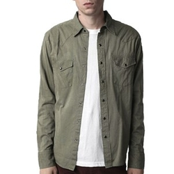 Salt Valley Solid Light Weight Textured Cotton Western Shirt by Urban Outfitters in The Big Bang Theory