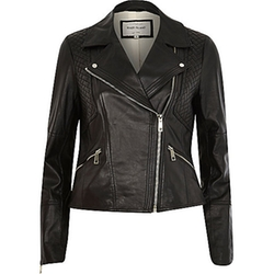 Leather Fitted Biker Jacket by River Island in The Last Witch Hunter
