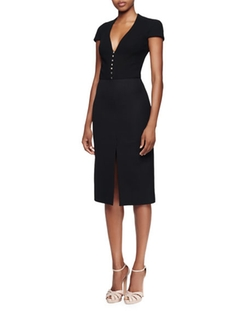 Cap-Sleeve Deep-V-Neck Dress by Alexander McQueen in Suits