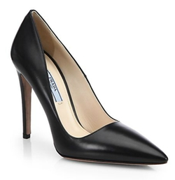 Leather Point-Toe Pumps by Prada in Suits