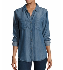 Carter Button-Front Chambray Shirt by Rails in Sleepless