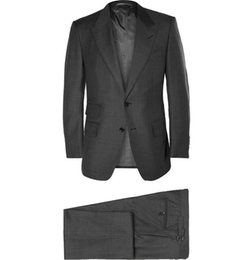 Slim Fit Sharkskin Wool Three Piece Suit by Tom Ford in Empire