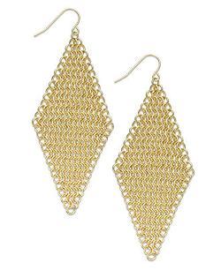Gold-Tone Chain Mesh Kite Drop Earrings by ABS by Allen Schwartz in Couple's Retreat