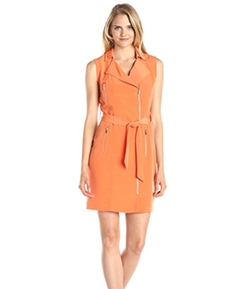 Asymmetric Moto Dress by Calvin Klein in Sisters