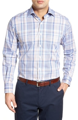 End on End Regular Fit Plaid Sport Shirt by Peter Millar in Man With A Plan