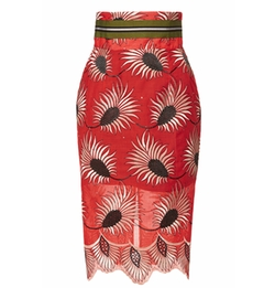 Printed Cotton Toledo Amphora Skirt by Stella Jean in Empire