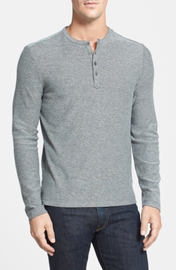 'Horace' Long Sleeve Cotton Henley Shirt by Robert Barakett in Wanted