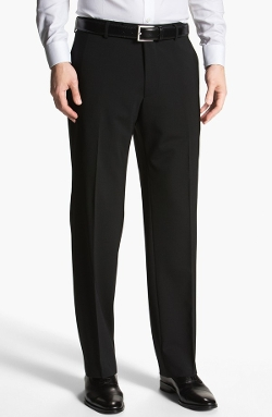 'Jeffrey Us' Flat Front Wool Trousers by Boss Hugo Boss in Fight Club