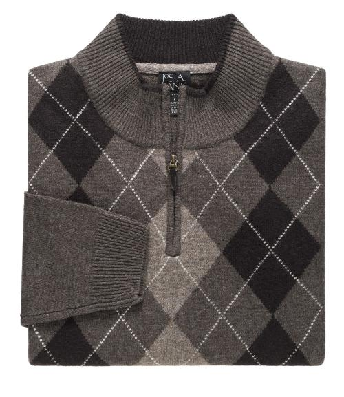 Lambswool Patterned Argyle Half-Zip Sweater by Jos. A. Bank in Let's Be Cops