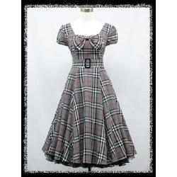 Dress190 Grey Tartan Check Cap Sleeve 50's 60's Rockabilly Vintage by Charming Maren in Get On Up