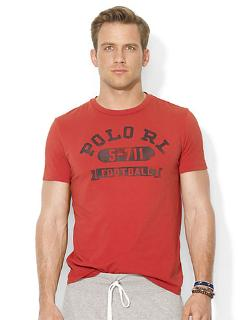 Football Crewneck T-shirt by Polo Ralph Lauren in Chronicle