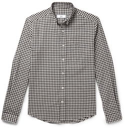 Slim-Fit Button-Down Collar Gingham Cotton Shirt by Ami in Rosewood