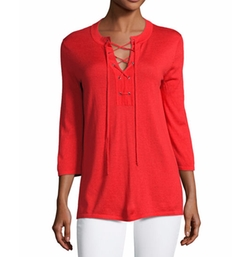 Superfine Lace-Up Tunic by Neiman Marcus Cashmere Collection in Animal Kingdom