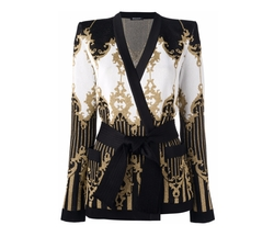 Patterned Baroque Belted Jacket by Balmain in Empire