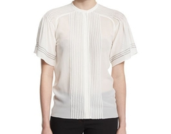 Short-Sleeve Pleated Silk Blouse by Burberry in Designated Survivor