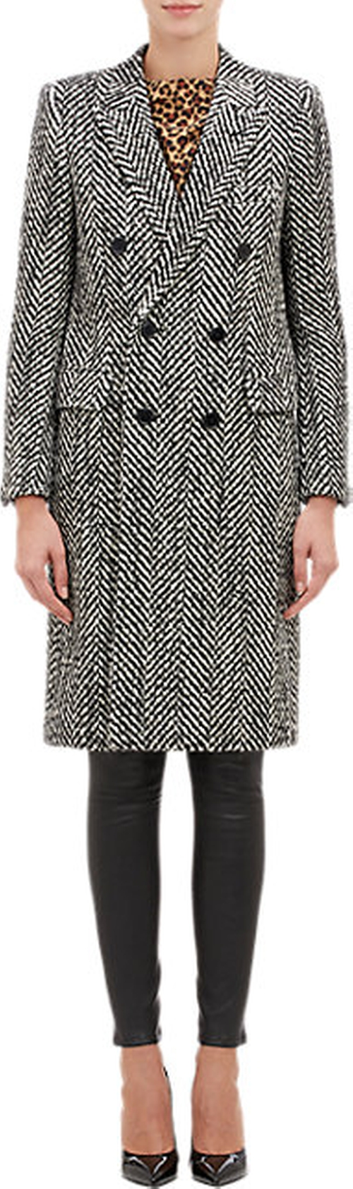 Chevron Tweed Double-Breasted Coat by Saint Laurent in Mr. & Mrs. Smith