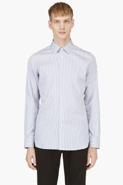 BLUE & WHITE STRIPE BUTTON DOWN SHIRT by ANN DEMEULEMEESTER in Million Dollar Arm