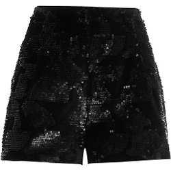 Black High Waisted Velvet Sequin Shorts by River Island in Fast & Furious 6