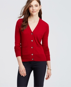 Petite Pocket Cardigan Sweater by Ann Taylor in Love the Coopers