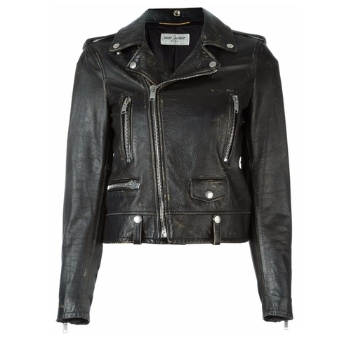Distressed Biker Jacket by Saint Laurent in Keeping Up With The Kardashians - Season 12 Episode 11