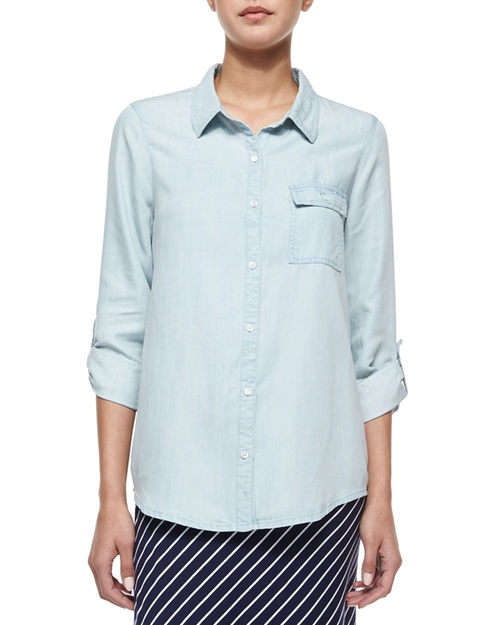 Onyx Chambray Button-Down Shirt by Soft Joie in The Proposal
