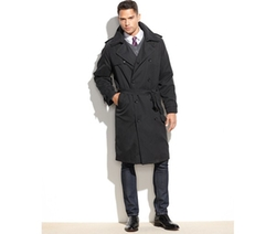 Iconic Belted Trench Raincoat by London Fog in Black Mass