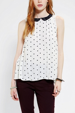 Laser Cut Collar Sleeveless Blouse by Cooperative in Poltergeist