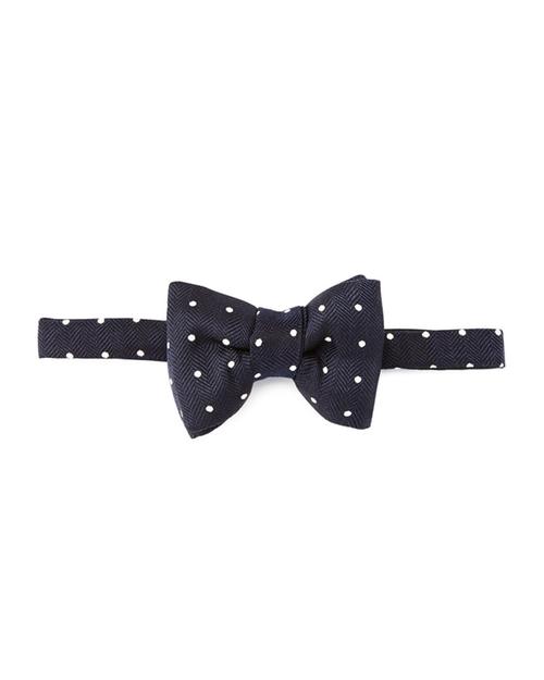 Blue Herringbone Polka-Dot Bow Tie by Tom Ford in The Boss