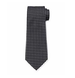 Geometric Box-Printed Silk Tie by Armani Collezioni  in Suits